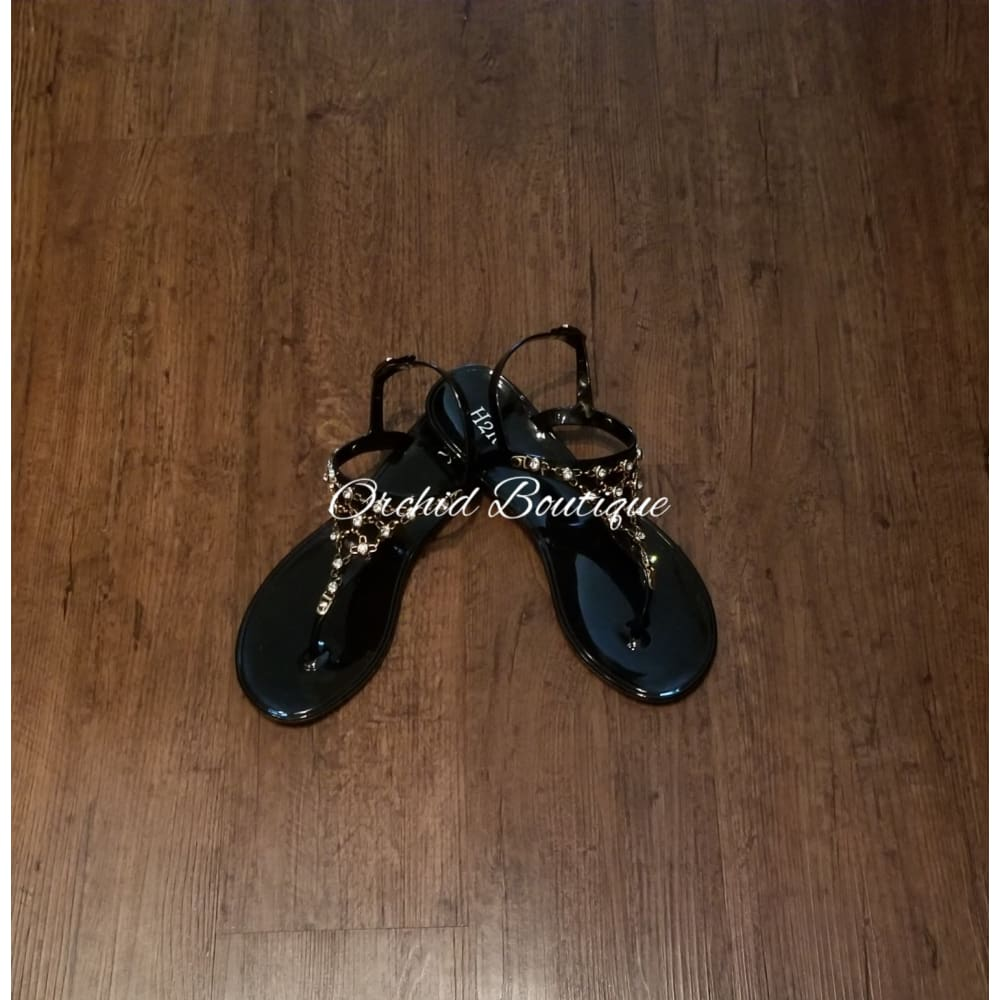 Tiara Black Gummy Sandals Shoes