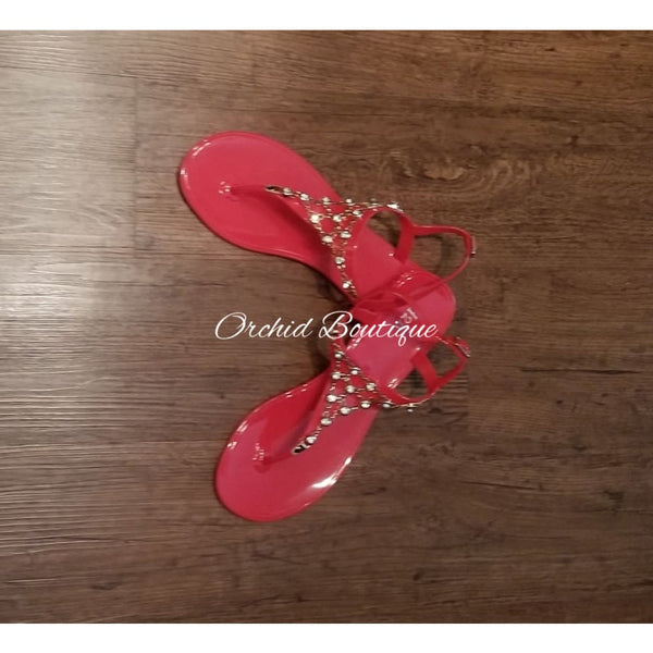 Tiara Red Gummy Sandals Shoes