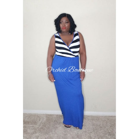 Verona Blue Stripe Top Maxi Dress Dresses