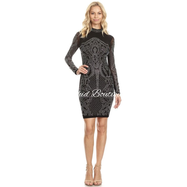 Vicki Black Crystal Mini Dress Dresses
