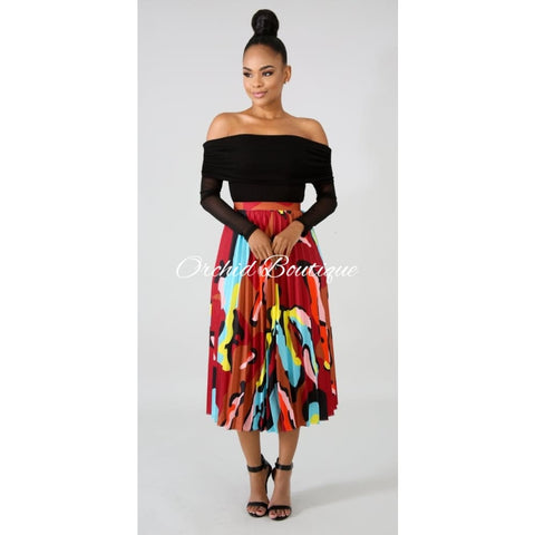 Vicky Red Luxe Pleated Midi Skirt Skirts