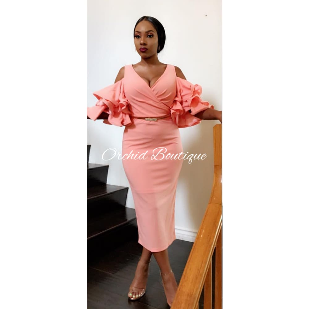 Victoria Blush Ruffle Midi Dress Dresses