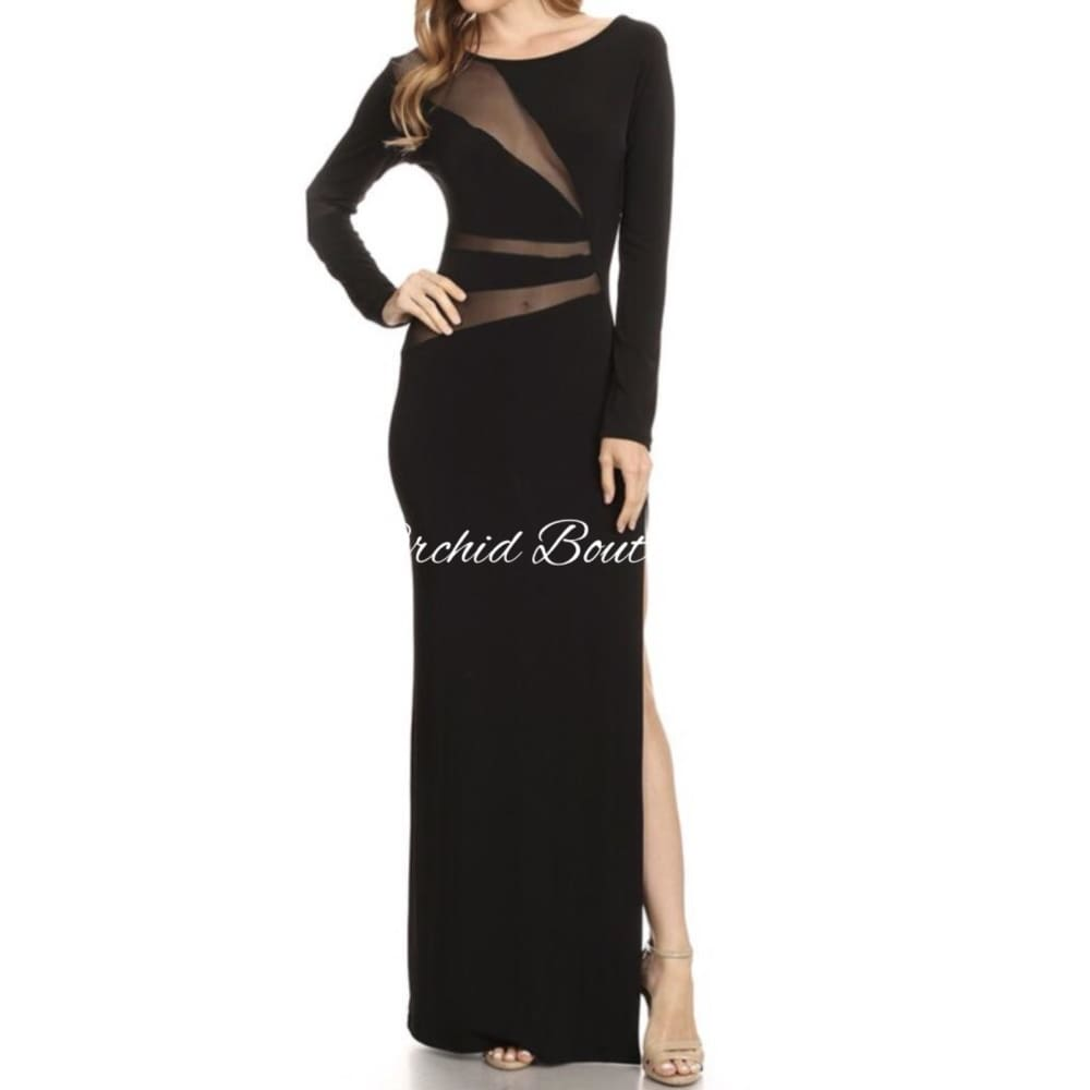 Willow Black Mesh Maxi Dress Dresses