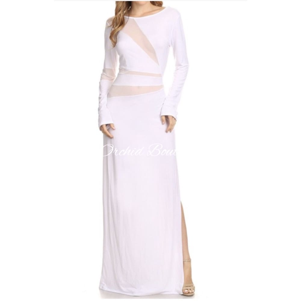 Willow White Mesh Maxi Dress Dresses