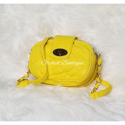 Yellow Faux Leather Shoulder Bag Clutch