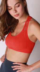 Fiery Red - Racer Back Bra