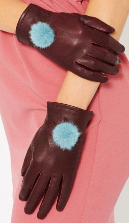 Leather Glove with Faux Fur Pom