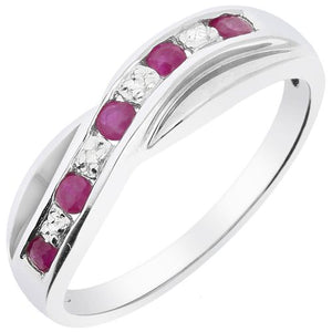 9CT WHITE GOLD RUBY AND DIAMOND RING - Penny Store Limited