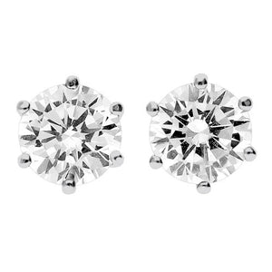 9CT WHITE GOLD MEDIUM CUBIC ZIRCONIA STUD EARRINGS - Penny Store Limited