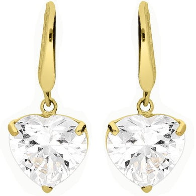 9CT GOLD CUBIC ZIRCONIA HEART DROP EARRINGS - Penny Store Limited