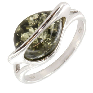 SILVER GREEN AMBER LEAF RING - Penny Store Limited