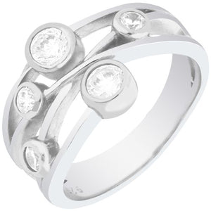 DIAMORE STERLING SILVER GRADUATED CUBIC ZIRCONIA RING - Penny Store Limited