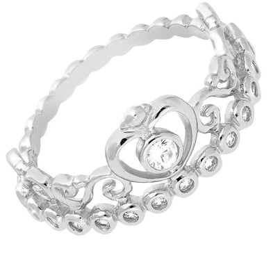 STERLING SILVER HEART SHAPED CUBIC ZIRCONIA TIARA RING - Penny Store Limited