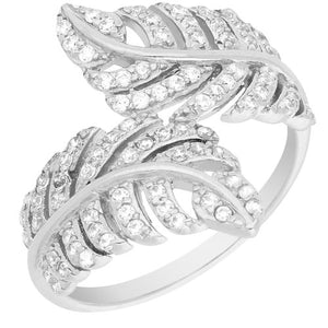 STERLING SILVER CUBIC ZIRCONIA DOUBLE LEAF RING - Penny Store Limited