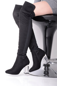 OVER THE KNEE CLEAR HEELED BOOTS - Penny Store Limited