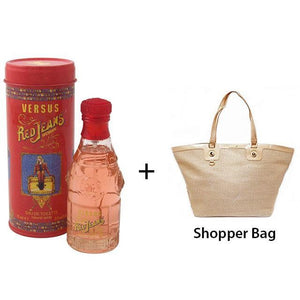 Versace Versus Red Jeans 75ml EDT Women Spray + Shopper Bag Exclusive Gift Set - Penny Store Limited