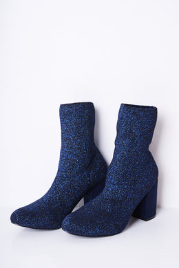 BLUE GLITTER STRETCH SOCK BOOTS - Penny Store Limited