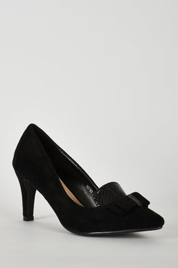 BLACK FAUX SUEDE COURT SHOE WITH BOW DETAIL - Penny Store Limited