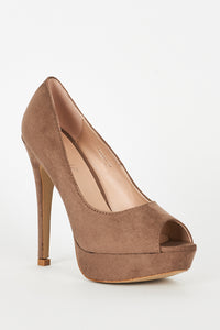 BEIGE FAUX SUEDE HIGH HEEL PLATFORM SHOES - Penny Store Limited