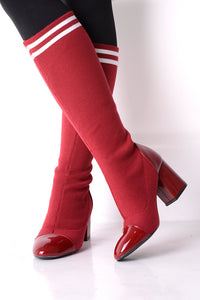RED BLACK BLUE STRETCH SOCK BOOTS - Penny Store Limited