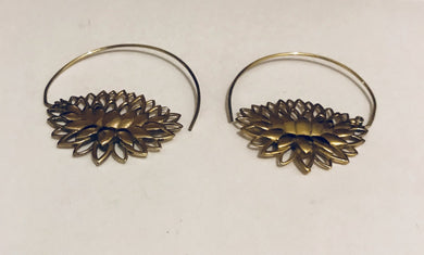 Brass lotus spiral ear rings - Penny Store Limited