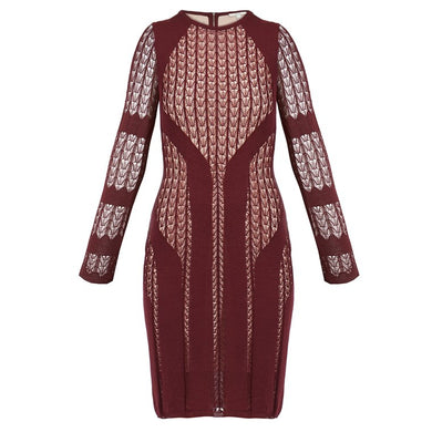 DAGMAR Elah Burgundy Deco Knitted Lace Dress - Penny Store Limited
