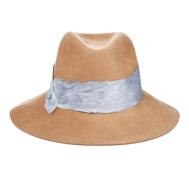EUGENIA KIM Georgina Camel Brushed Wool-Felt Wide-Brimmed Fedora Hat with Feather Trim - Penny Store Limited