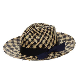 SENSI STUDIO Black Two-Tone Toquilla Straw Panama Hat - Penny Store Limited