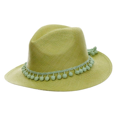 SENSI STUDIO Green Classic Pompom Panama Hat - Penny Store Limited