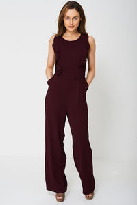 WIDE LEG BURGUNDY JUMPSUIT EX-BRANDED - Penny Store Limited