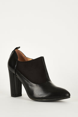 BLACK FAUX SUEDE LEATHER ANKLE BOOT - Penny Store Limited