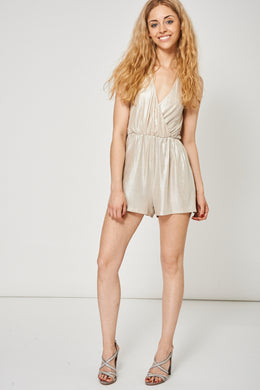 METALLIC WRAP FRONT PLAYSUIT - Penny Store Limited