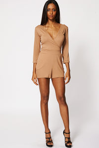 BROWN CROSS OVER TIE PLAYSUIT EX-BRANDED - Penny Store Limited