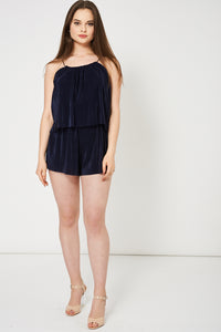 NAVY PLEATED PLAYSUIT - Penny Store Limited