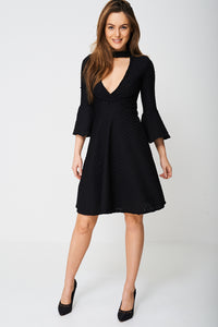 BELL SLEEVE SKATER DRESS IN BLACK - Penny Store Limited