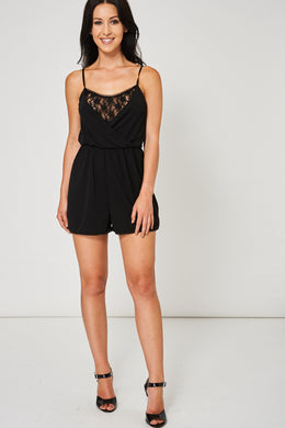 FLORAL LACE CAMI PLAYSUIT IN BLACK EX-BRANDED - Penny Store Limited