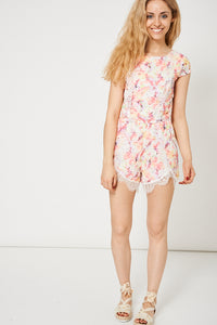 FLORAL PATTERN PLAYSUIT WITH LACE INSERT - Penny Store Limited