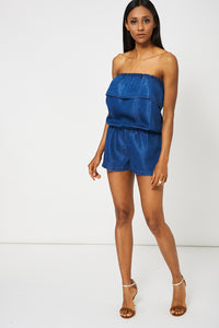 BLUE DENIM LOOK BANDEAU PLAYSUIT - Penny Store Limited