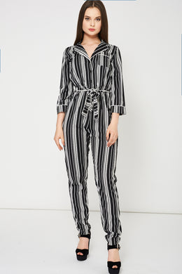 BLACK AND WHITE STRIPED JUMPSUIT - Penny Store Limited
