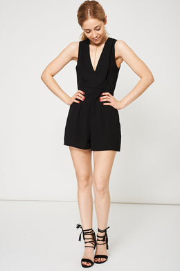 NECKLACE DETAIL PLAYSUIT IN BLACK - Penny Store Limited