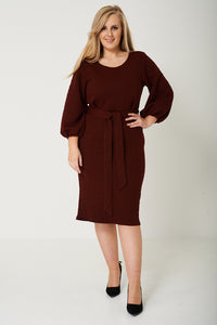 PLUS SCUBA BALLOON SLEEVE DRESS - Penny Store Limited