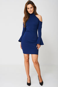 COLD SHOULDER BELL SLEEVE DRESS - Penny Store Limited