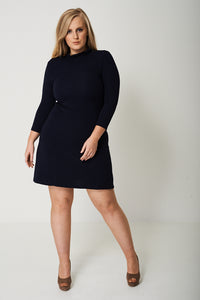 PLUS TEXTURED SKATER DRESS IN NAVY - Penny Store Limited