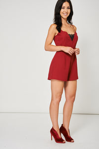 BURGUNDY PLAYSUIT WITH BLACK LACE DETAIL - Penny Store Limited