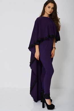JUMPSUIT AND CAPE SET IN DARK PURPLE - Penny Store Limited