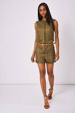 KHAKI PLAYSUIT EX-BRANDED AVAILABLE IN PLUS SIZES - Penny Store Limited