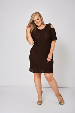 BROWN COLD SHOULDER TEXTURED DRESS - Penny Store Limited