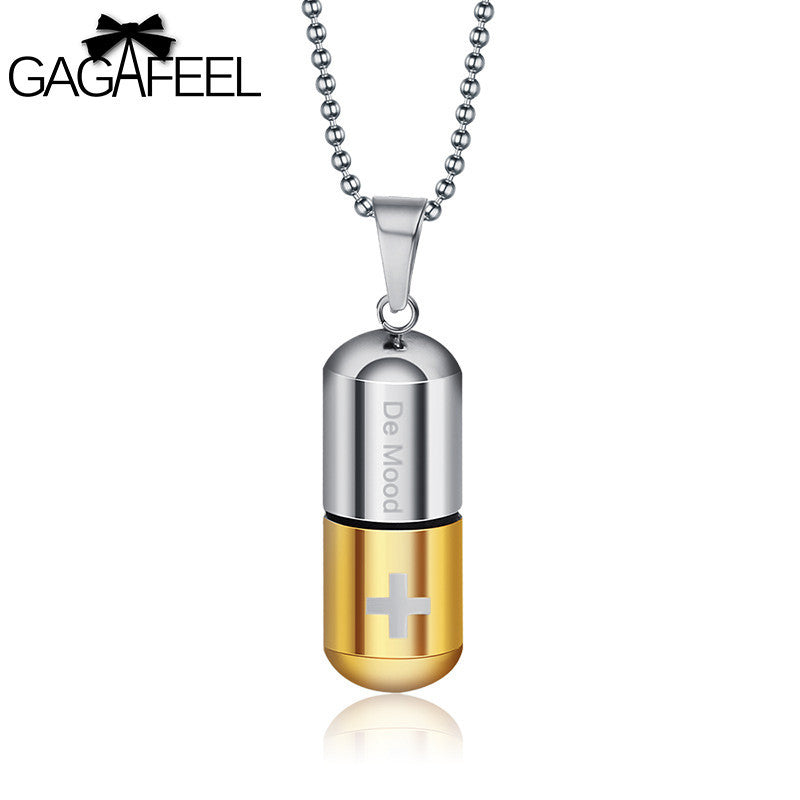 Gagafeel open capsule pendant necklace for women men perfume bottle gagafeel open capsule pendant necklace for women men perfume bottle pill cross stainless steel bead chain aloadofball Images