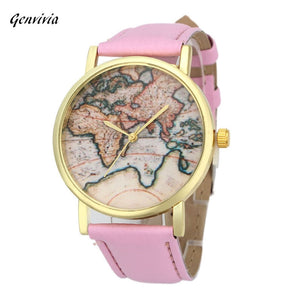 GENVIVIA Vintage Earth World Map Watch leather & Alloly Women Gifts Wristwatch Analog Quartz Wrist Watches