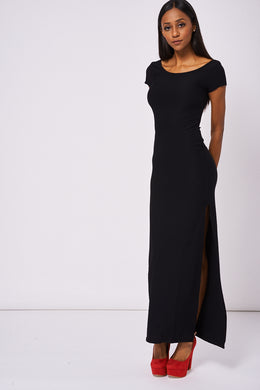 MAXI DRESS WITH DEEP SIDE SPLIT UP EX-BRANDED - Penny Store Limited